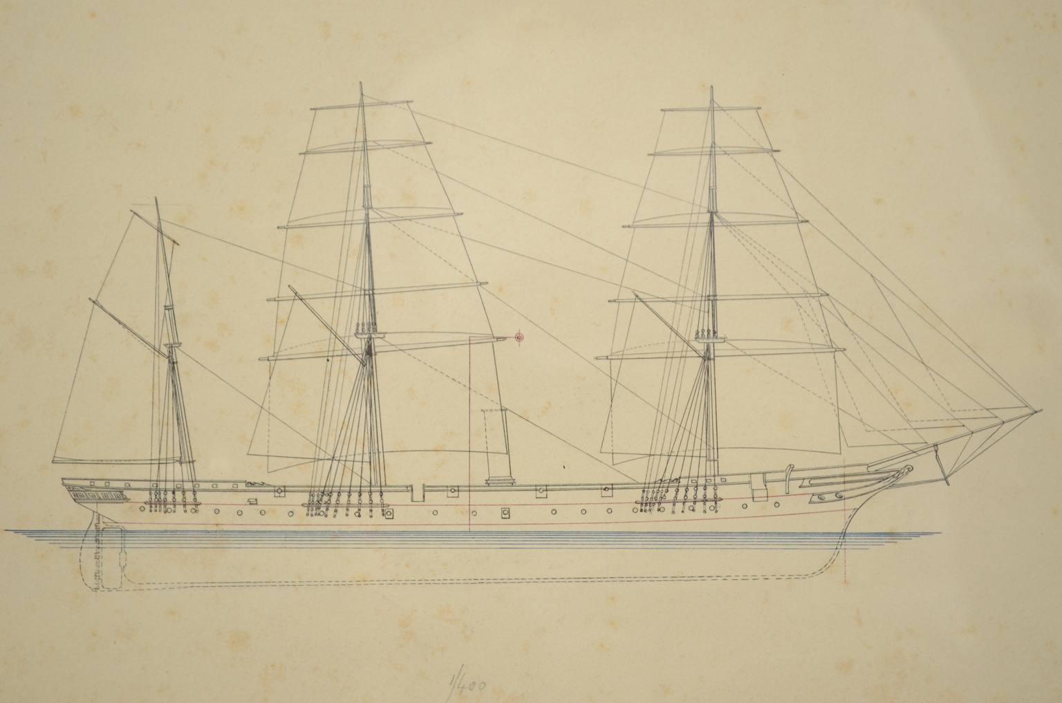 航海类古董/5698B-打印描绘一个帆船