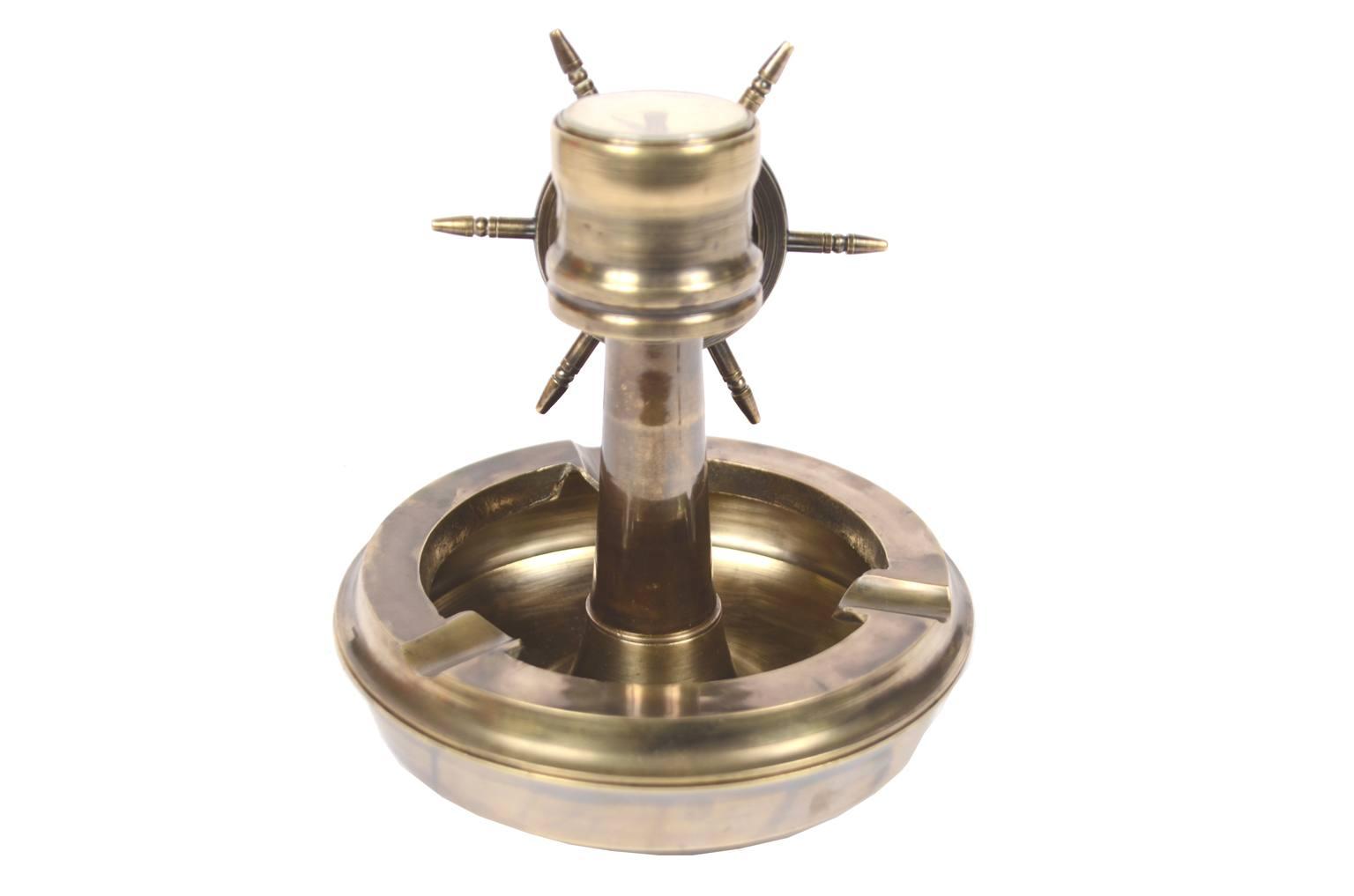 航海类古董/5774A-带舵和指南针的黄铜烟灰缸