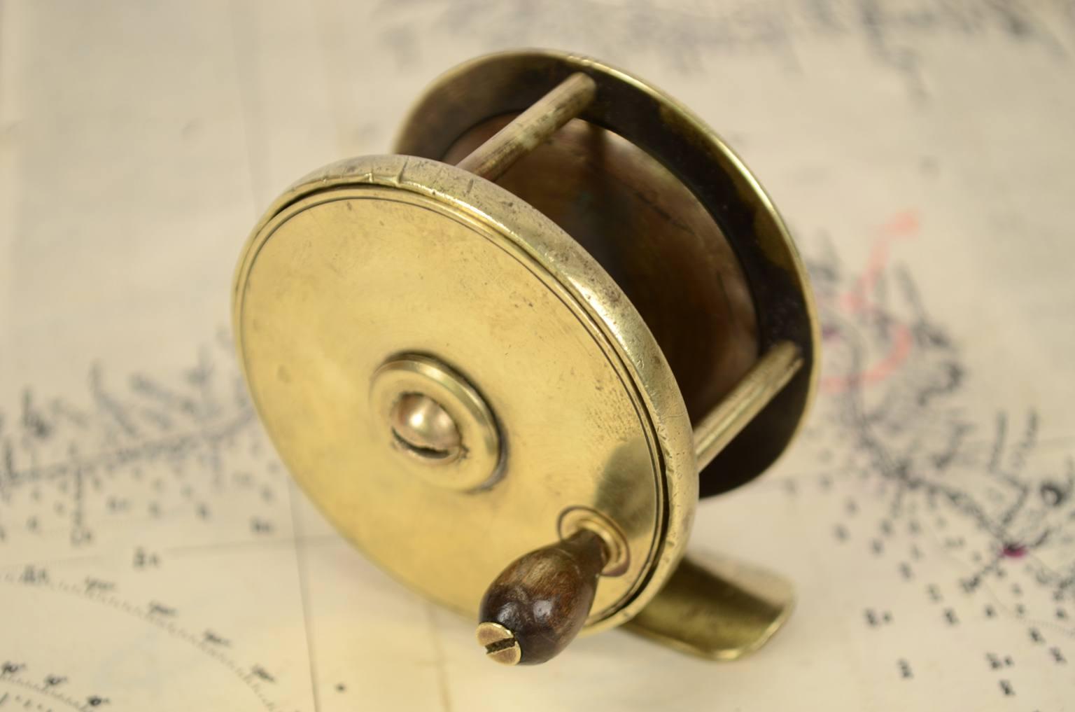 航海类古董/6339-黄铜钓鱼卷轴