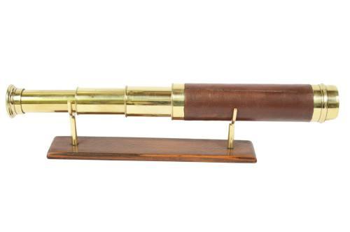 航海类古董/6515-小型黄铜和皮革望远镜/更多信息
