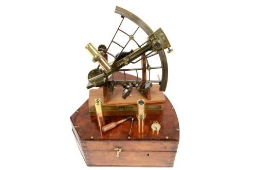 航海类古董/6528-由抛光黄铜制成的六分仪/更多信息
